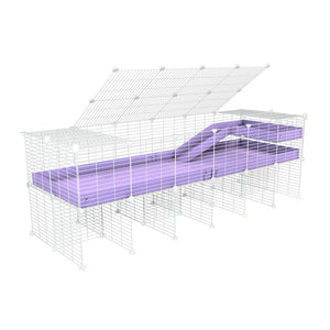 A 2x6 C and C guinea pig cage with stand loft ramp lid small size meshing safe white grids purple lilac pastel correx sold in UK
