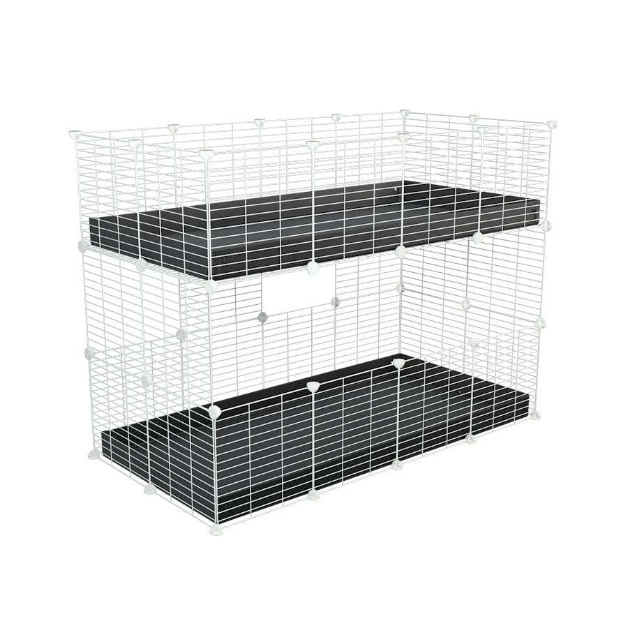 A 4x2 double stacked c and c guinea pig cage with two stories black coroplast safe size white grids by brand kavee