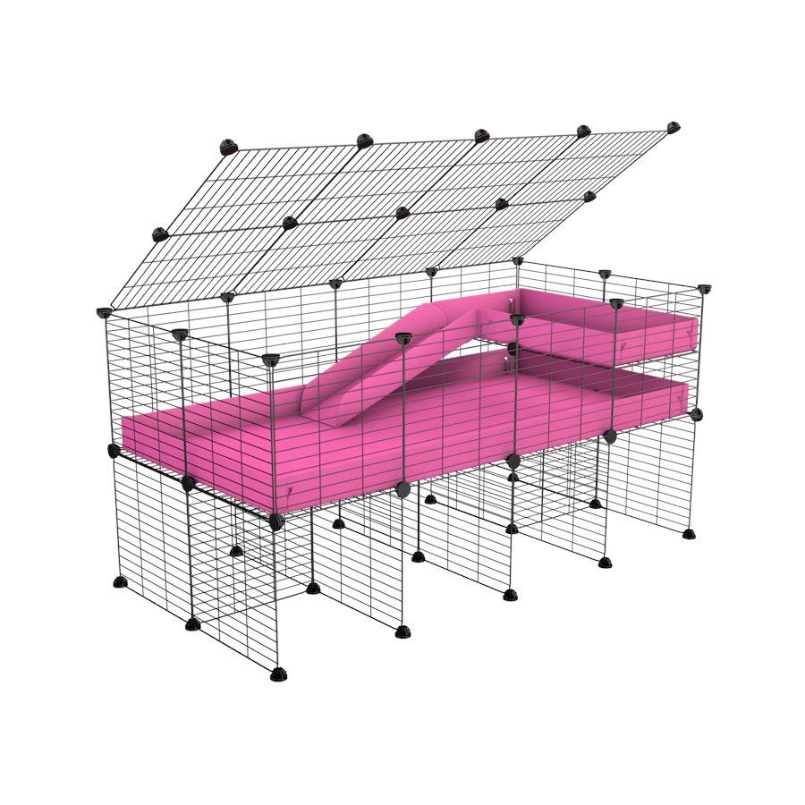 A 2x4 C and C guinea pig cage with stand loft ramp lid small size meshing safe grids pink correx sold in UK