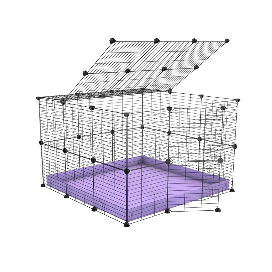 A 3x3 C and C rabbit cage with lid and safe small meshing grids purple coroplast by kavee UK