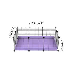 Size of A cheap 3x2 C&C cage for guinea pig with purple lilac pastel coroplast and baby proof grids from brand kavee