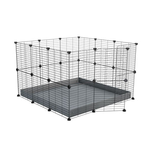 A 3x3 C and C rabbit cage with safe small size baby grids and grey coroplast by kavee UK