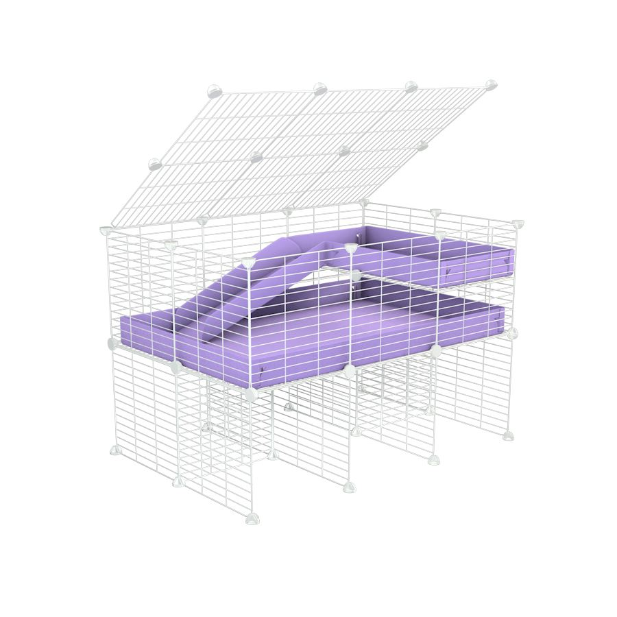 A 2x3 C and C guinea pig cage with stand loft ramp lid small size meshing safe white grids purple lilac pastel correx sold in UK