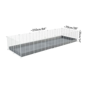 Dimensions of A 2x6 C and C cage for guinea pigs with grey coroplast a lid and small hole white C and C grids from brand kavee