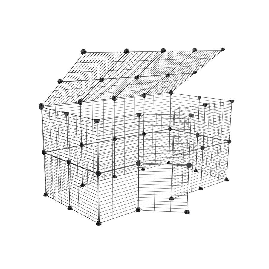 a tall 4x2 outdoor modular playpen with a lid and small hole safe C and C grids for guinea pigs or Rabbits