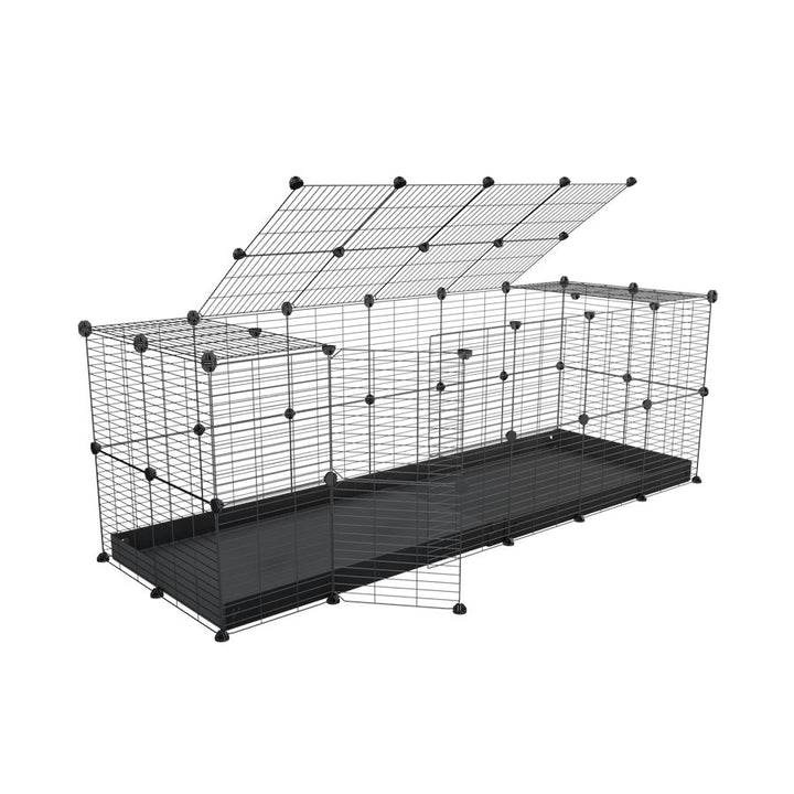 A 6x2 C and C rabbit cage with lid and safe baby grids black coroplast by kavee UK