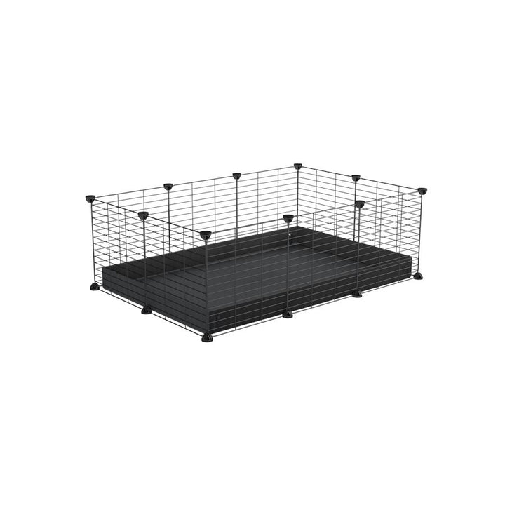 A cheap 3x2 C&C cage for guinea pig with black coroplast and baby grids from brand kavee