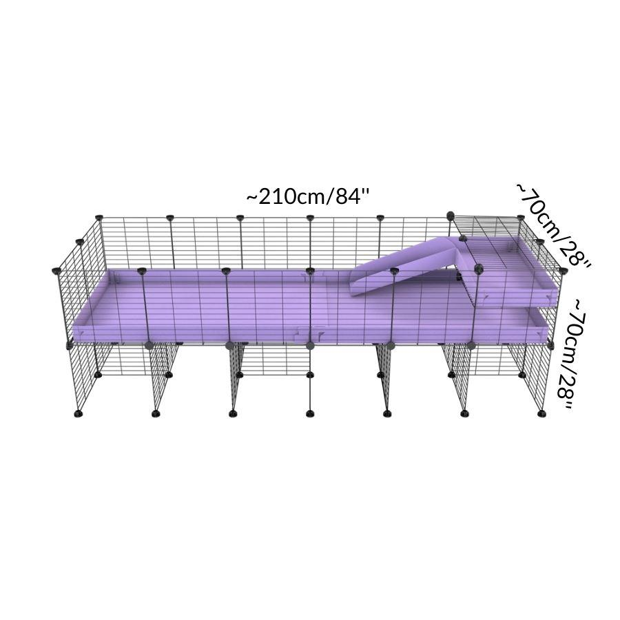 Size of a 6x2 CC guinea pig cage with stand loft ramp small mesh grids purple lilac pastel corroplast by brand kavee