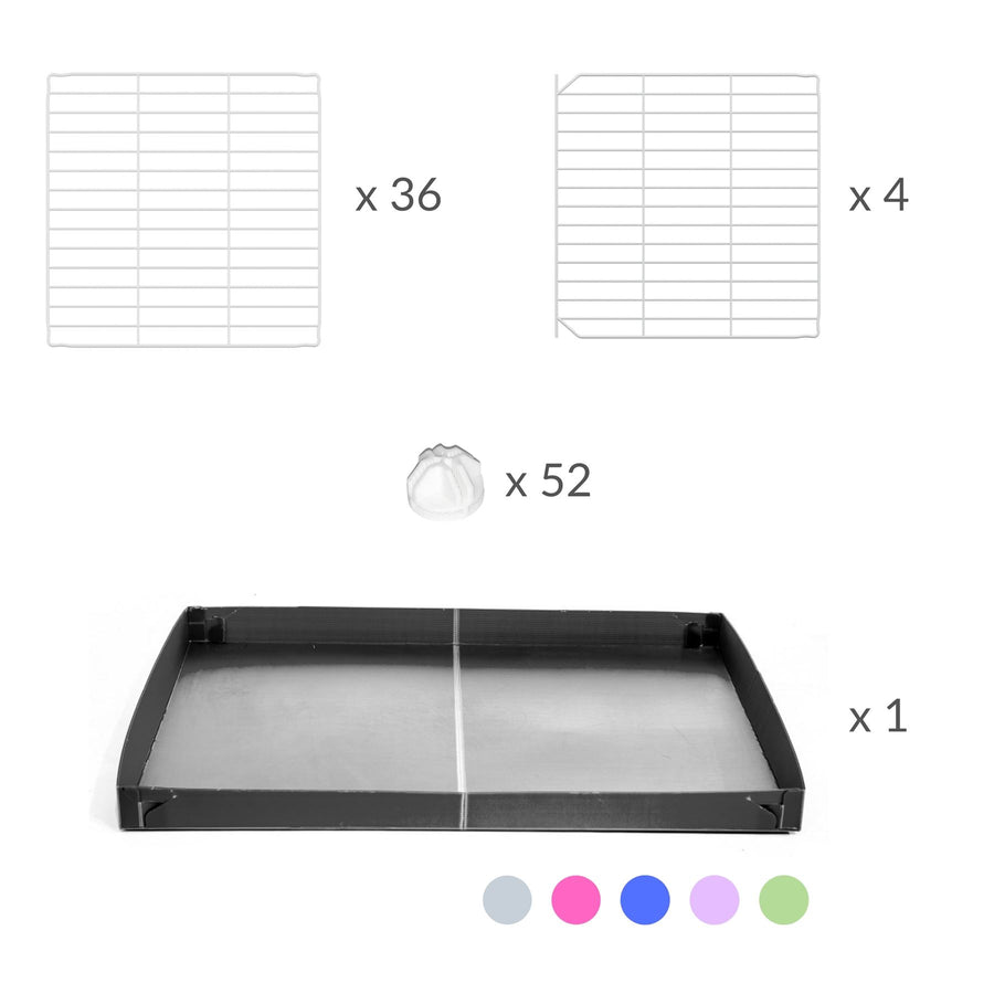 Components of a 4x2 C&C cage for guinea pigs with a stand and a top grey plastic safe white C and C grids by kavee