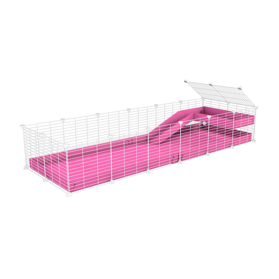 a 6x2 C&C guinea pig cage with a loft and a ramp pink coroplast sheet and baby bars white grids by kavee