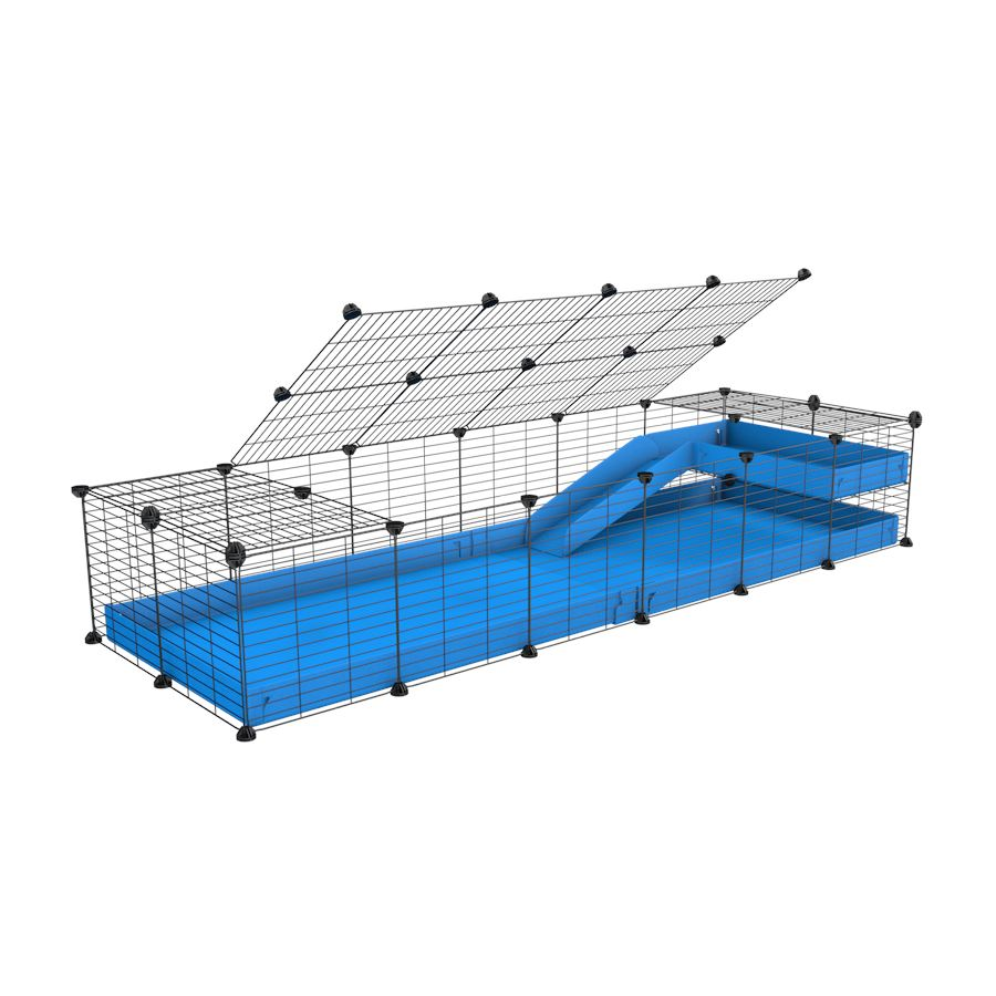 a 2x6 C and C guinea pig cage with loft ramp lid small hole size grids blue coroplast kavee