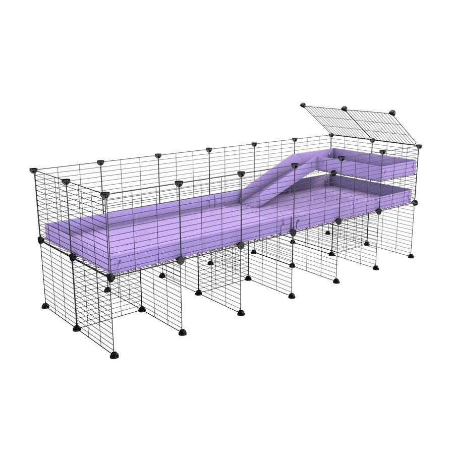 a 6x2 CC guinea pig cage with stand loft ramp small mesh grids purple lilac pastel corroplast by brand kavee