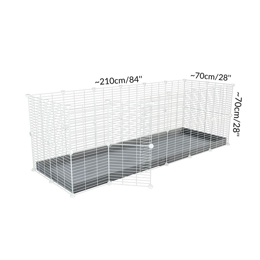 Size of A 6x2 C and C rabbit cage with a top and safe small size baby proof white C and C grids and grey coroplast by kavee UK