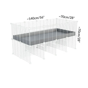 Dimensions of a 4x2 C&C cage for guinea pigs with a stand and a top grey plastic safe white C and C grids by kavee