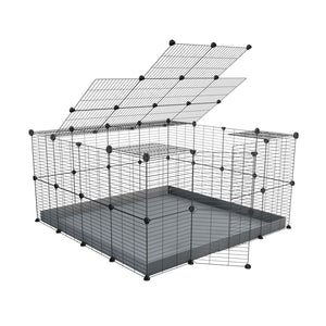 A 4x4 C&C rabbit cage with top and safe baby bars grids grey coroplast by kavee UK