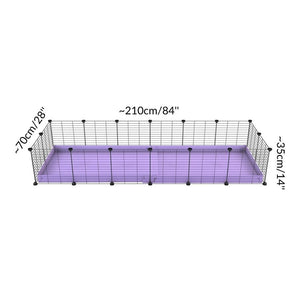 Size of A cheap 6x2 C&C cage for guinea pig with purple lilac pastel coroplast and baby grids from brand kavee