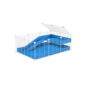 a 3x2 C&C guinea pig cage with a loft and a ramp blue coroplast sheet and white baby bars CC grids by kavee