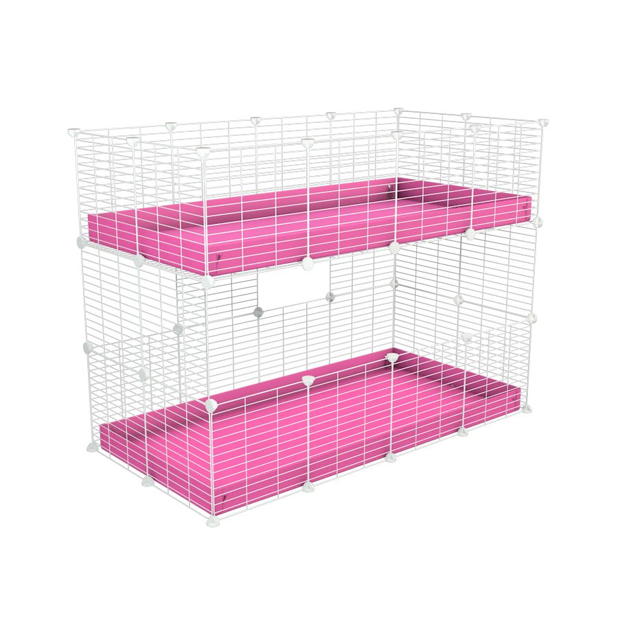 A 4x2 double stacked c and c guinea pig cage with two stories pink coroplast safe size white C and C grids by brand kavee