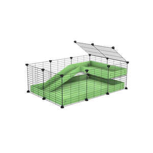 a 3x2 C&C guinea pig cage with a loft and a ramp green pastel pistachio coroplast sheet and baby bars by kavee