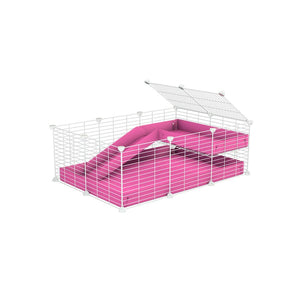 a 3x2 C&C guinea pig cage with a loft and a ramp pink coroplast sheet and baby bars by kavee