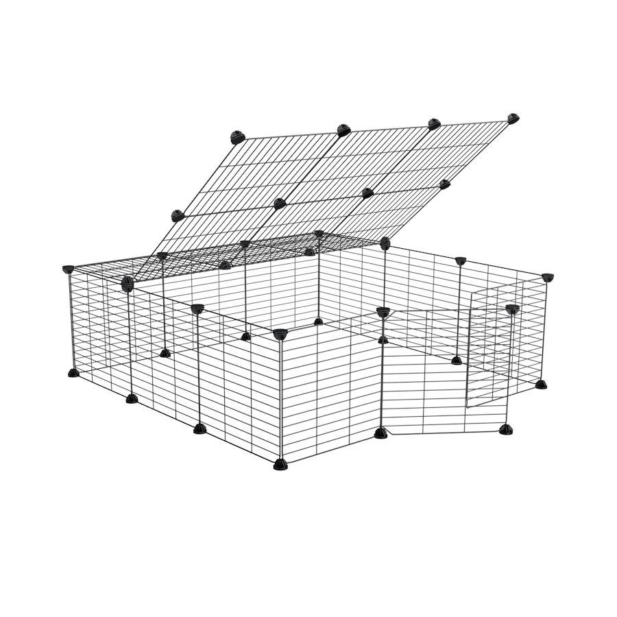 a 3x3 outdoor modular playpen with lid and baby C and C grids for guinea pigs or Rabbits by brand kavee