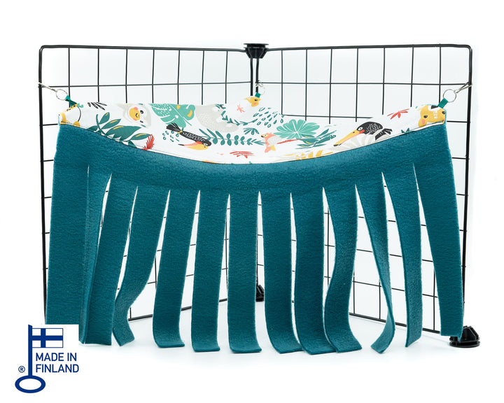 guinea pig accessory corner curtain hideout fleece blue jungle handmade kavee c&c cage