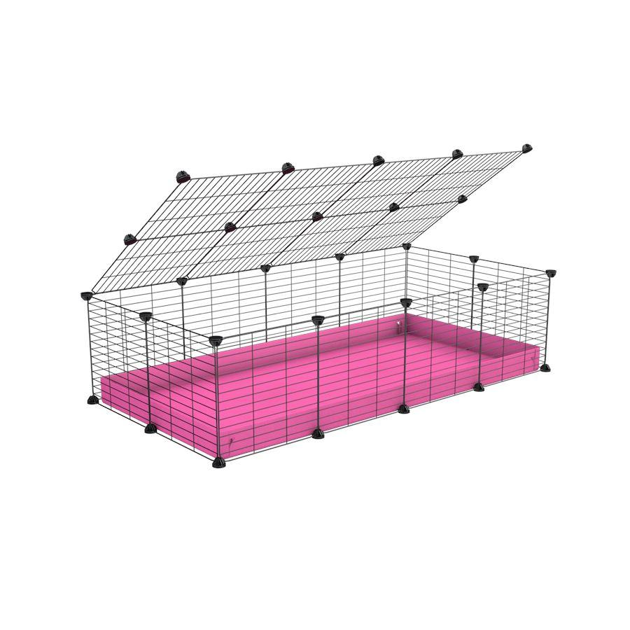 A 2x4 C and C cage for guinea pigs with pink coroplast a lid and small hole grids from brand kavee