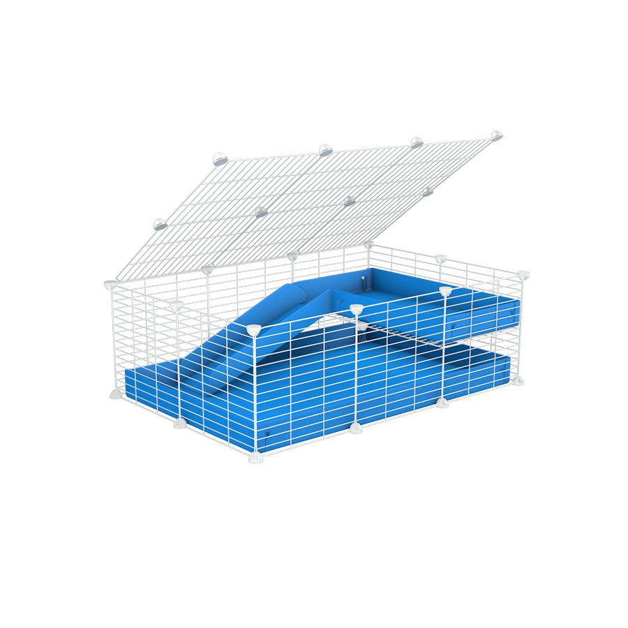 a 2x3 C and C guinea pig cage with loft ramp lid small hole size white C&C grids blue coroplast kavee