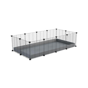 A cheap 4x2 C&C cage for guinea pig with grey coroplast and baby grids from brand kavee