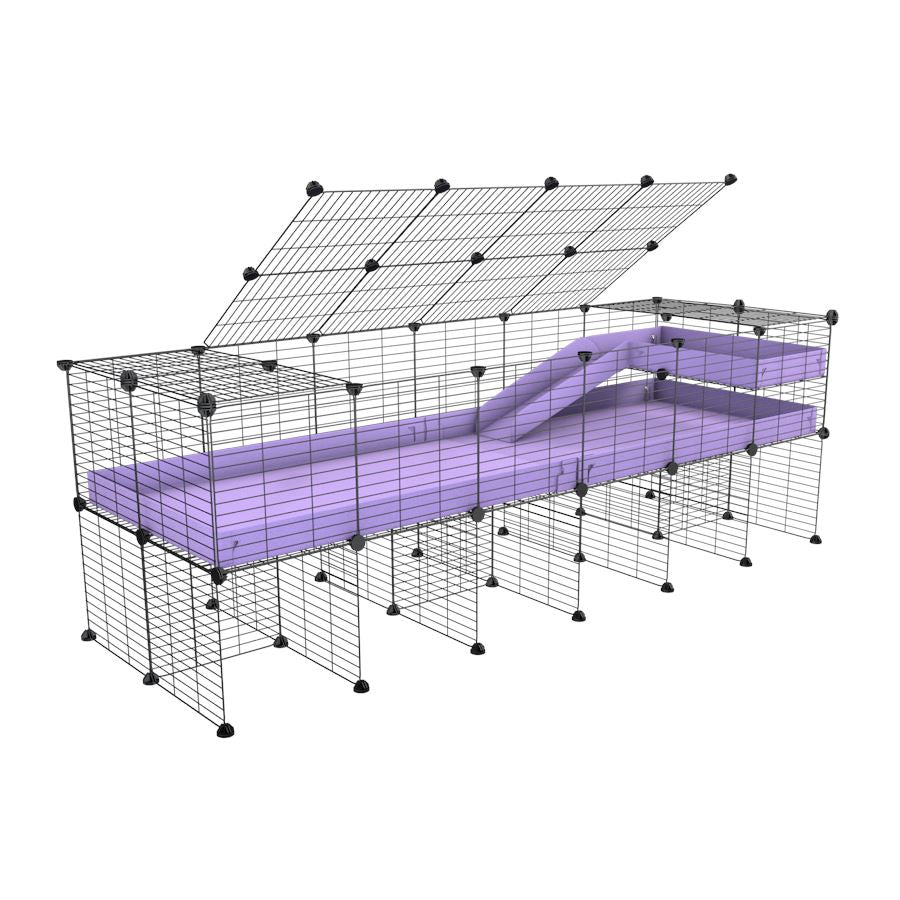 A 2x6 C and C guinea pig cage with stand loft ramp lid small size meshing safe grids purple lilac pastel correx sold in UK