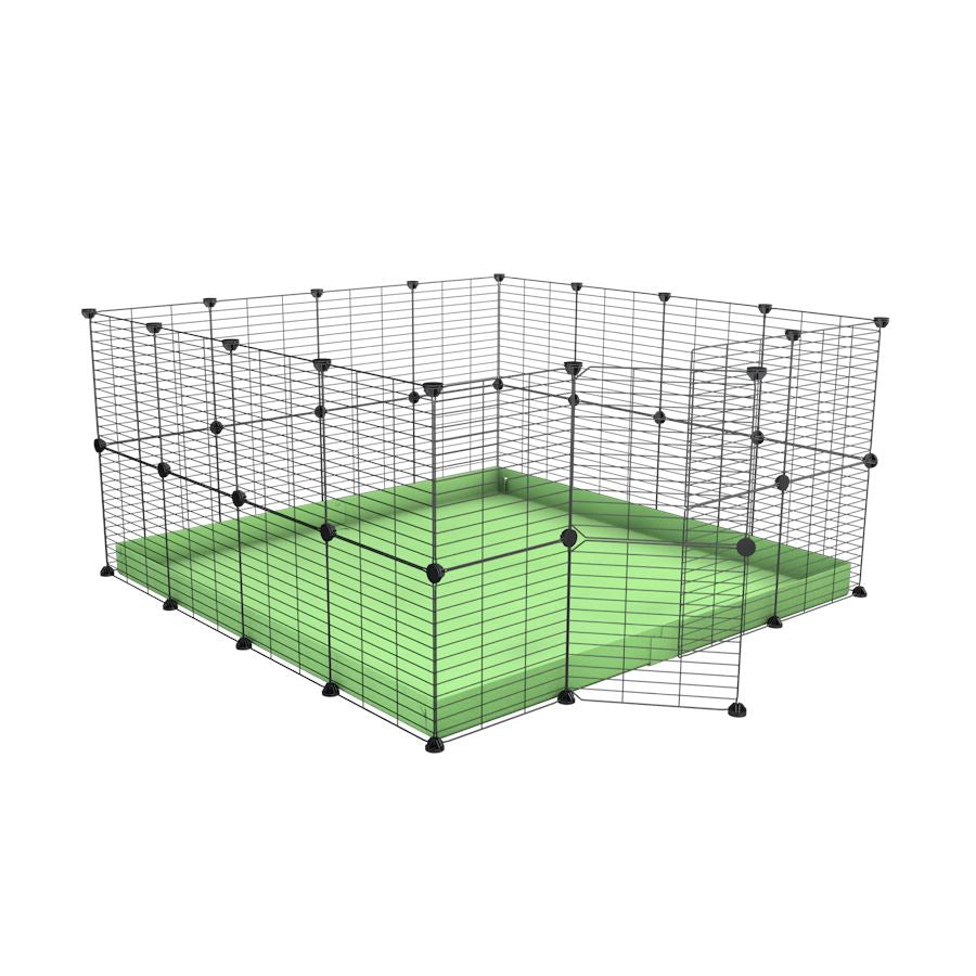 A 4x4 C&C rabbit cage with safe small mesh grids and green pastel coroplast by kavee UK