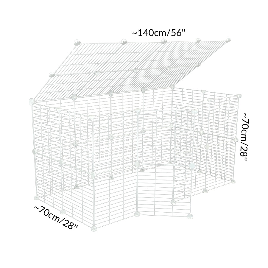 Dimensions of a tall 4x2 outdoor modular playpen with a lid and small hole safe C and C white grids for guinea pigs or Rabbits