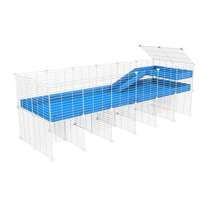 a 6x2 CC guinea pig cage with stand loft ramp small mesh white C&C grids blue corroplast by brand kavee