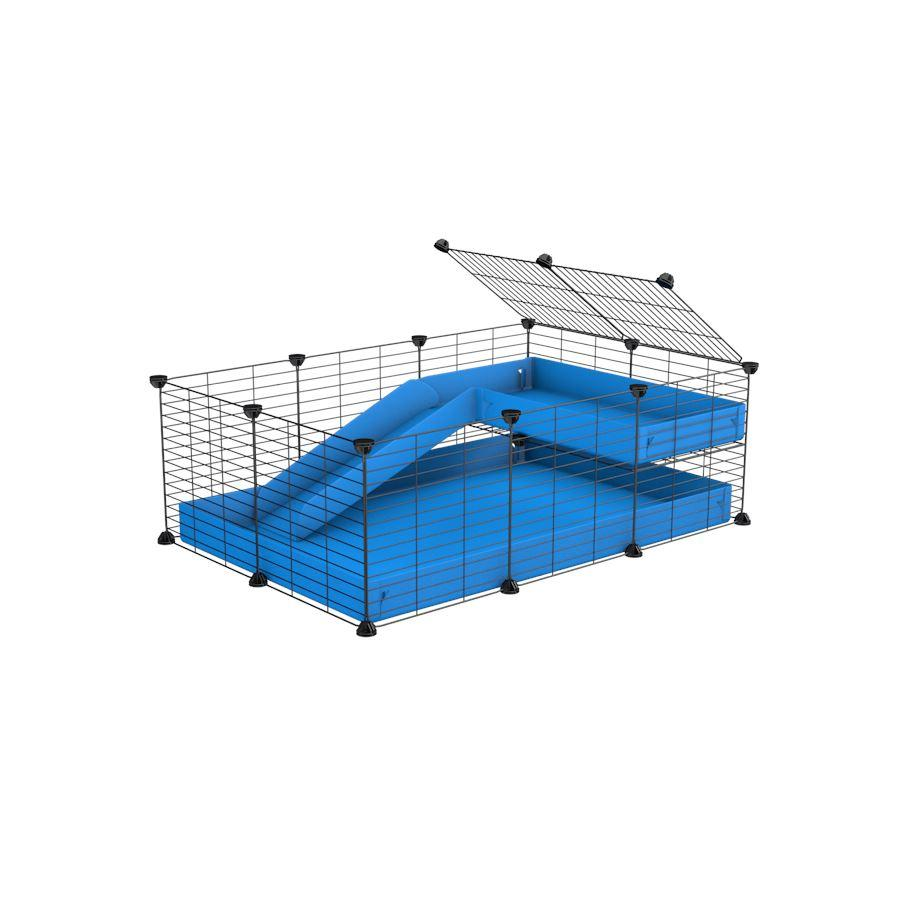 a 3x2 C&C guinea pig cage with a loft and a ramp blue coroplast sheet and baby bars by kavee