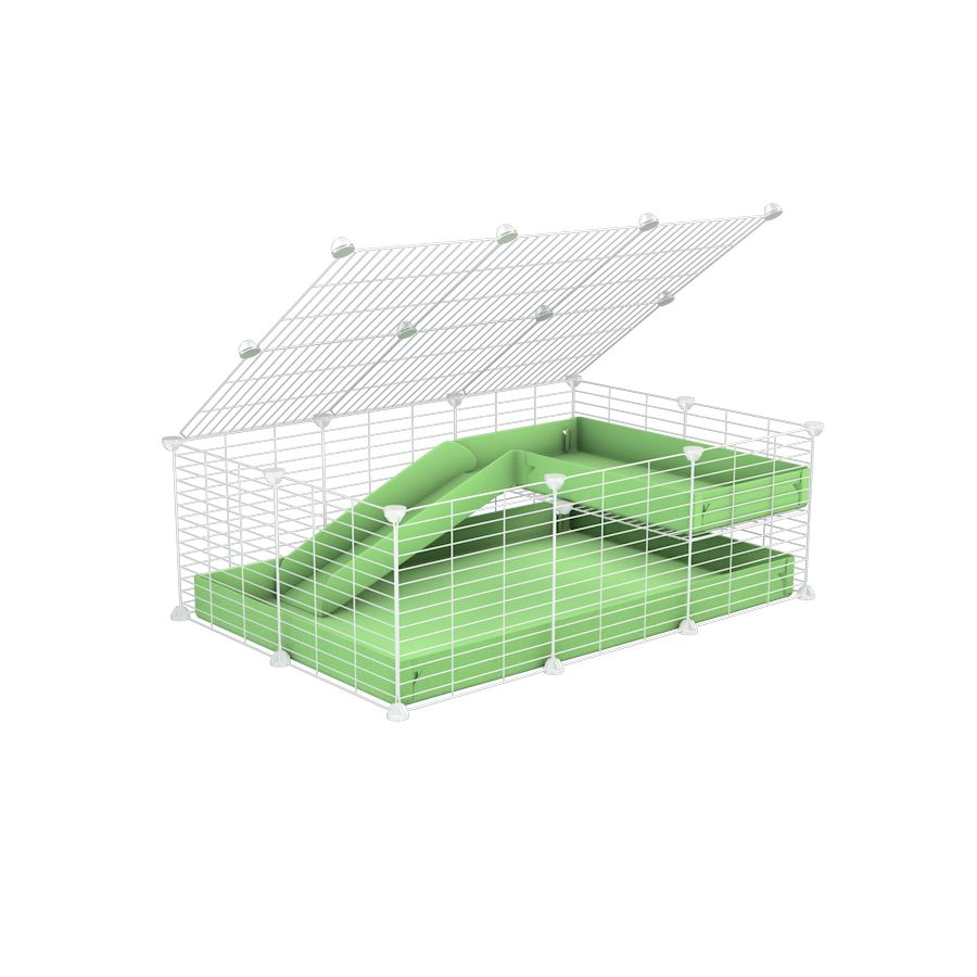 a 2x3 C and C guinea pig cage with loft ramp lid small hole size white C&C grids green pastel pistacchio coroplast kavee