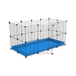 A 4x2 C&C rabbit cage with safe small meshing baby bars grids and blue coroplast by kavee UK