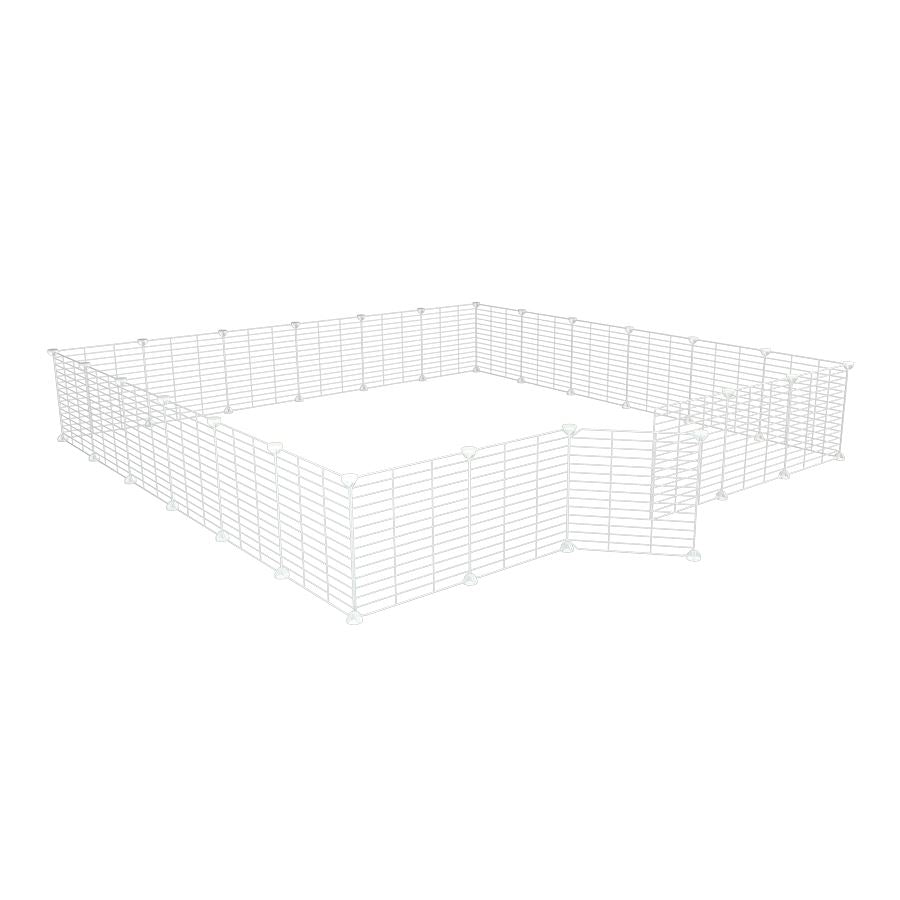 a 6x6 outdoor modular playpen with small hole safe C&C white grids for guinea pigs or Rabbits by brand kavee
