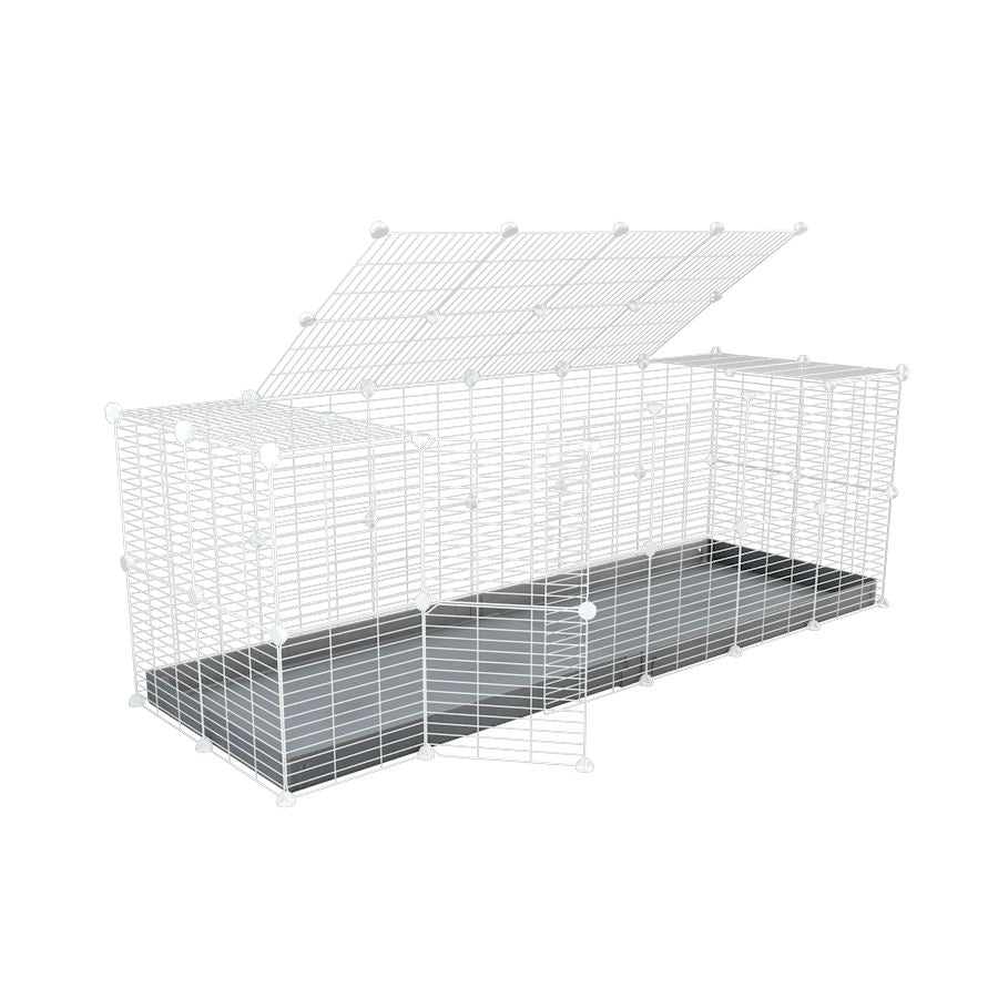 A 6x2 C and C rabbit cage with a top and safe small size baby proof white C and C grids and grey coroplast by kavee UK