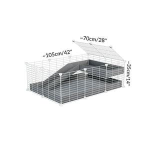 Dimensions of a 2x3 C and C guinea pig cage with loft ramp lid small hole size white CC grids grey coroplast kavee
