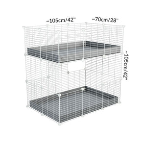 Size of A two tier 3x2 c&c cage for guinea pigs with two levels blue correx baby safe white C&C grids by brand kavee in the uk