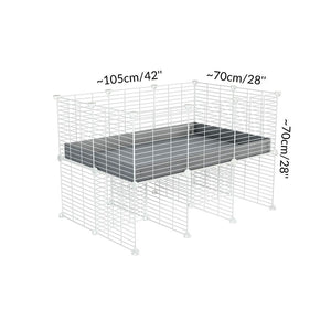 Dimensions of a 3x2 C&C cage for guinea pigs with a stand and a top grey plastic safe white CC grids by kavee