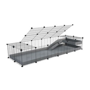 a 2x6 C and C guinea pig cage with loft ramp lid small hole size grids grey coroplast kavee
