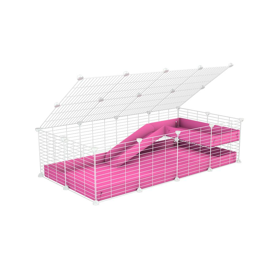 a 2x4 C and C guinea pig cage with loft ramp lid small hole size white CC grids pink coroplast kavee
