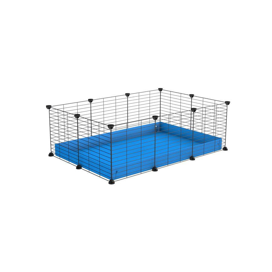 a cheap 3x2 C&C cage for guinea pig with blue coroplast and baby proof grids from brand kavee