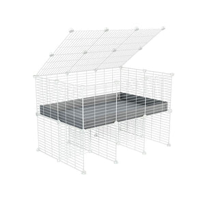 a 3x2 C&C cage for guinea pigs with a stand and a top grey plastic safe white CC grids by kavee