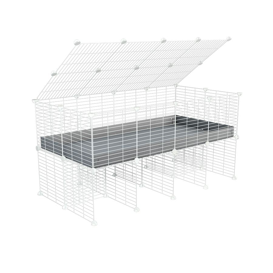 a 4x2 C&C cage for guinea pigs with a stand and a top grey plastic safe white C and C grids by kavee