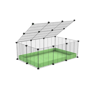 A 2x3 C and C cage for guinea pigs with green pastel pistacchio coroplast a lid and small hole grids from brand kavee