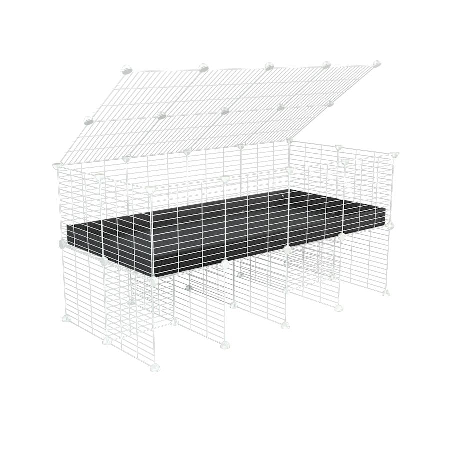 a 4x2 C&C cage for guinea pigs with a stand and a top black plastic safe white C&C grids by kavee