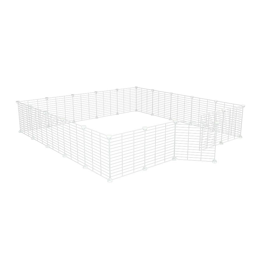 a 5x5 outdoor modular playpen with small hole safe C&C white grids for guinea pigs or Rabbits by brand kavee