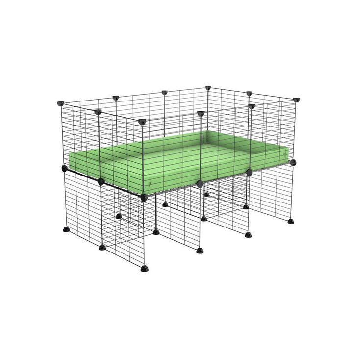 a 3x2 CC cage for guinea pigs with a stand green pastel pistachio correx and 9x9 grids sold in Uk by kavee